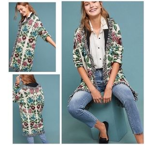 anthropolgie floral intarsia sweater coat